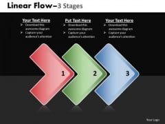 Business Finance Strategy Development Linear Flow 3 Stages Sales Diagram