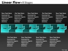 Business Finance Strategy Development Linear Flow 9 Stages Business Diagram