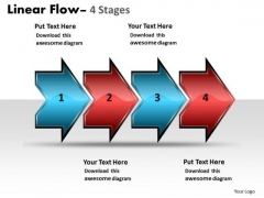 Business Finance Strategy Development Linear Flow Arrow 4 Stages Strategic Management