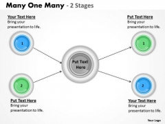 Business Finance Strategy Development Many One Many 2 Stages Strategy Diagram