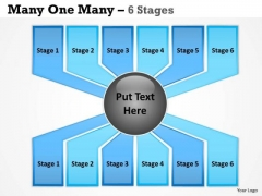 Business Finance Strategy Development Many One Many Process 6 Stages Business Cycle Diagram