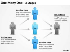 Business Finance Strategy Development One Many One 3 Stages Business Diagram