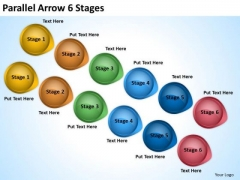 Business Finance Strategy Development Parallel Arrow 6 Stages Business Cycle Diagram