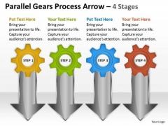 Business Finance Strategy Development Parallel Gears Process Arrow 4 Stages Sales Diagram
