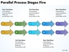 Business Finance Strategy Development Parallel Process Stages Five Business Diagram