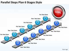 Business Finance Strategy Development Parallel Steps Plan 6 Stages Style Marketing Diagram