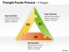 Business Finance Strategy Development Triangle Puzzle Process 3 Stages Sales Diagram