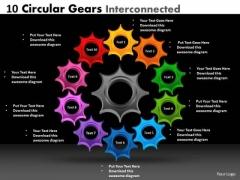 Business Framework Model 10 Circular Gears Interconnected Strategic Management