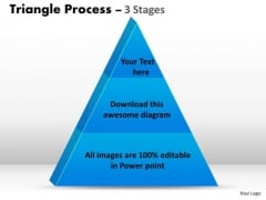 Business Framework Model 3 Staged Dependent Triangle Process Sales Diagram