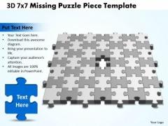 Business Framework Model 3d 7x7 Missing Puzzle Piece Business Sales Diagram