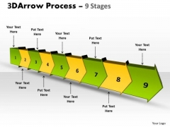 Business Framework Model 3d Arrow Process 9 Stages Strategy Diagram