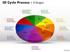 Business Framework Model 3d Cycle Process Flow Chart Diagram Style 9 Stages Strategy Diagram