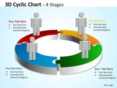 Business Framework Model 3d Cyclic Diagram Chart 4 Stages Business Diagram