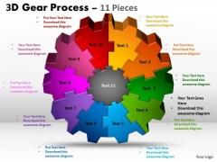 Business Framework Model 3d Gear Process 11 Pieces Strategic Management