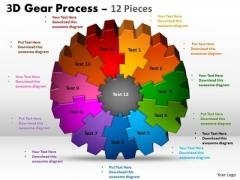 Business Framework Model 3d Gear Process 12 Pieces Marketing Diagram