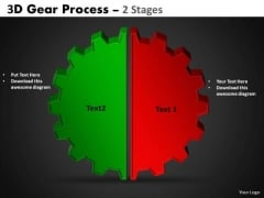 Business Framework Model 3d Gear Process 2 Stages Marketing Diagram