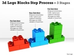Business Framework Model 3d Lego Blocks Step Process 3 Stages Strategy Diagram