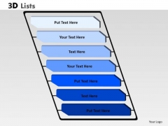 Business Framework Model 3d List Diagram With 7 Stages For Business Sales Diagram