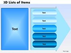 Business Framework Model 3d Lists Of Items 5 Design Sales Diagram