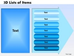 Business Framework Model 3d Lists Of Items 7 Arrow Marketing Diagram