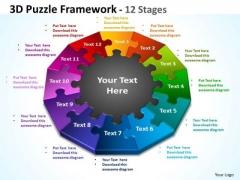 Business Framework Model 3d Puzzle Framework 12 Stages Business Diagram