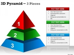 Business Framework Model 3d Pyramid 3 Pieces Marketing Diagram