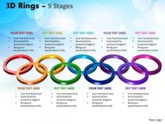 Business Framework Model 3d Rings 9 Stages Business Diagram