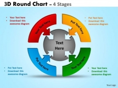 Business Framework Model 3d Round Chart 4 Stages Diagram Marketing Diagram