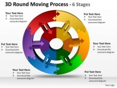 Business Framework Model 3d Round Moving Diagram Process 6 Stages Business Diagram