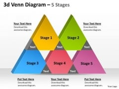 Business Framework Model 3d Venn Diagram 5 Stages Business Diagram