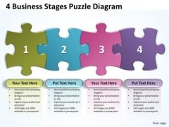 Business Framework Model 4 Business Stages Puzzle Diagram Business Diagram
