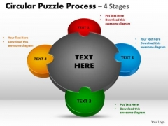 Business Framework Model 4 Stages Circular Diagram Puzzle Process Sales Diagram