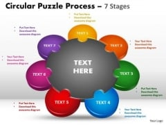 Business Framework Model 7 Stages Circular Diagram Puzzle Process Sales Diagram