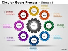 Business Framework Model Circular Gears Flowchart Process Diagram Stages 8 Strategy Diagram