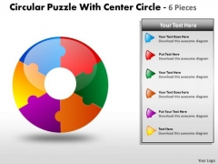 Business Framework Model Circular Puzzle Diagram 6 Pieces Ppt Sales Diagram