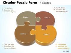 Business Framework Model Circular Puzzle Form 4 Stages Sales Diagram