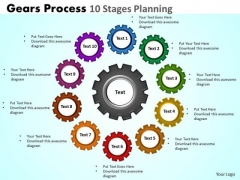 Business Framework Model Gears Process 10 Stages Planning Business Diagram