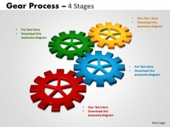Business Framework Model Gears Process 4 Stages Style Business Diagram