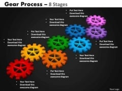 Business Framework Model Gears Process 8 Stages Sales Diagram