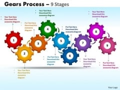 Business Framework Model Gears Process 9 Stages Business Cycle Diagram