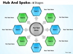 Business Framework Model Hub And Spoke 8 Stages Sales Diagram