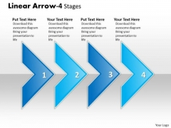 Business Framework Model Linear Arrow 4 Stages Marketing Diagram