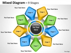 Business Framework Model Mixed Diagram 9 Stages For Business Marketing Diagram