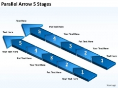 Business Framework Model Parallel Arrow 5 Stages Business Cycle Diagram