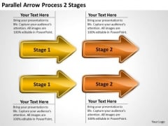 Business Framework Model Parallel Arrow Process 2 Stages Marketing Diagram