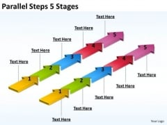 Business Framework Model Parallel Steps 5 Stages Sales Diagram