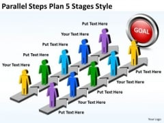 Business Framework Model Parallel Steps Plan 5 Stages Style Business Cycle Diagram