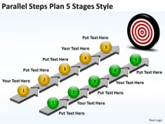 Business Framework Model Parallel Steps Plan 5 Stages Style Strategic Management