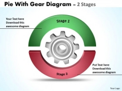 Business Framework Model Pie With Gear Diagram 2 Stages Marketing Diagram