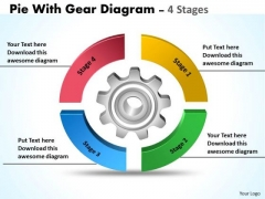 Business Framework Model Pie With Gear Diagram 4 Stages Business Diagram